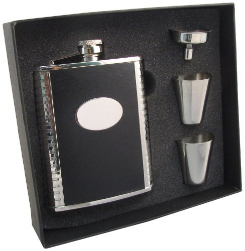 visol-tux-leather-stainless-steel-hip-flask-gift-set-6-ounce-black-by-visol