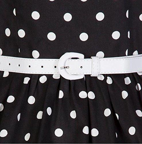 YOGLY Damen Kleider 50s Retro Schwingen Vintage Rockabilly kleid Faltenrock Schwarz