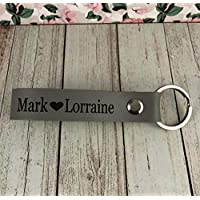 Personalised Genuine Dove Grey Leather keyring Wedding Gift 3rd Leather Anniversary Year