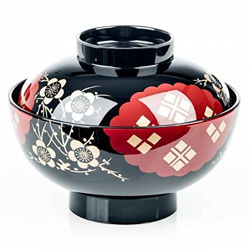 Noire et Rouge Bol et Couvercle à Soupe Miso Japonais