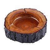 Posacenere in legno, einzigar Tiger gemachter della mano rotondo, in legno marrone tabacco posacenere decorativo, Natale Vintage Posacenere, 13-14cm