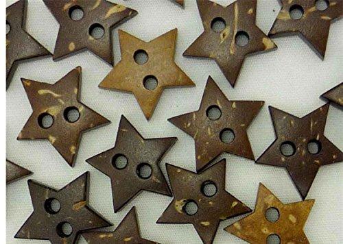 natürlichen kokosnussknöpfen Viel Sterne Form Craft Nähen Karten DIY, 20Stück braun Holz