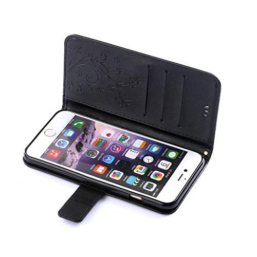 """Leathlux Pour iPhone 6 Plus 6s Plus Coque , PU Cuir Fleur Painting Portefeuille Magnétique Stand [Card Slot] Flip Pochette Protecteur Étui Housse Pour Apple iPhone 6s Plus / 6 Plus 5.5"""" Rouge Noir"""