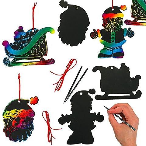 German Trendseller® - 4 x feuilles à gratter┃motifs de Noel┃avec des crayons à gratter et des attaches┃couleurs d