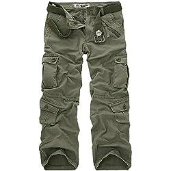 AYG Hombre Pantalón Militar Cargo Trousers(army green,32)