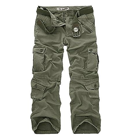 AYG Herren Cargo Hose Camouflage Freizeit Militär Hose(army green,36)