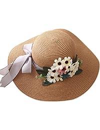 Leisial Signora di Estate Cappello da Sole Donna Colore Puro Carino Fiori  Cappello da Spiaggia Pieghevole 5474821e9d90