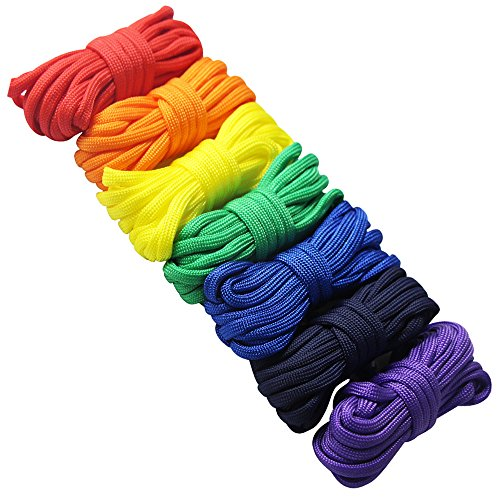 EDGEAM 7er Paracord Set Schnüre Armband Fallschirmschnur Survival Nylon Seil DIY (Regenbogenfarbe) - Nylon-seil 1 2