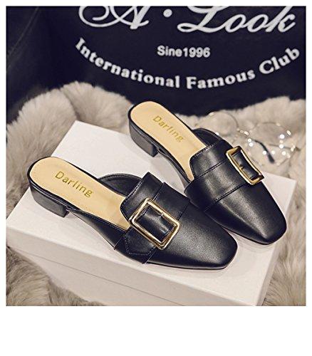 Pu Sandálias Planas Chinelos Elegantes Mulheres Preto 2017 Couro Sapatos Verão Cystyle Clássicos De Chinelo anTFI1Bq