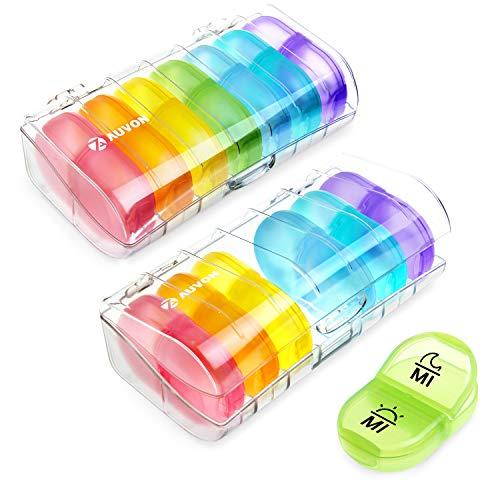 AUVON Tablettenbox 7 Tage, Pillendose 7 tage 2 fächer, handlicher und feuchtigkeitsbeständiger Medikamentenbox für die Hand- oder Hosentasche, um Vitamin- und Medikamente aufzubewahren(2 Stück)