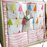 Vine Nursery Baby Cot Tidy Organiser for Cot Bed Baby bed Pouch Storage Bag Multifunction hanging Diapers Organiser 55 * 60CM (Trees Pattern)