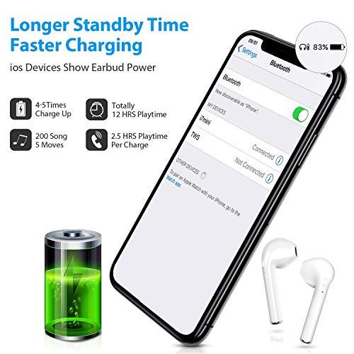 Alta qualit/à dell/'Audio e Segnale Bluetooth Stabile Kibel Auricolari Bluetooth Wireless Bianco Vivavoce per iOS Smartphone Android
