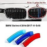 Pour calandre de BMW Série4 2014-2017 F 36 11 M Power M Sport Tech Bonnet Capot Habillage de grille rein/narine Boucle Pince Insert Rayures Revêtement Décor
