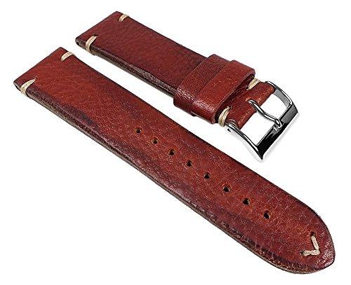 Vintage-Pony Ersatzband Uhrenarmband Pferdeleder Band Rotbraun 24508S, Stegbreite:24mm
