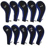 Txian Set Of 10 Golf Clubs Iron Headcovers Neoprene Golf Head Protective Cover