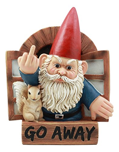 """Ebros """"Go Away"""" Rude Gnome And His Squirrel At The Window Flipping Off Guests Wall Decor 9""""H Whimsical Gnome Sculptural Hanging Plaque"""