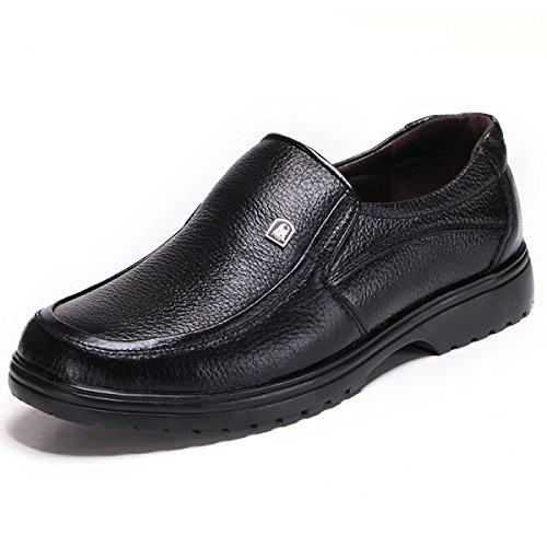 Grrong Sapatos Dos Homens De Couro Genuíno Lazer Couro Preto Negócios