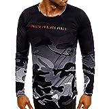 MOIKA Herren Sweatshirt Pullover Pulli mit Rundhalsausschnitt Mode Persönlichkeit Camouflage Männer Casual Schlank Langarm Shirt Top Bluse
