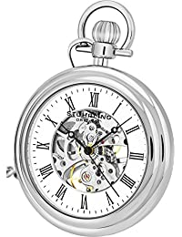 "Stuhrling Original Men's Vintage Mechanical Wind Skeleton Stainless Steel 47mm Pocket Watch with 12"" Silver chain and belt clip 19 Jewels 30 Hours Power Reserve"