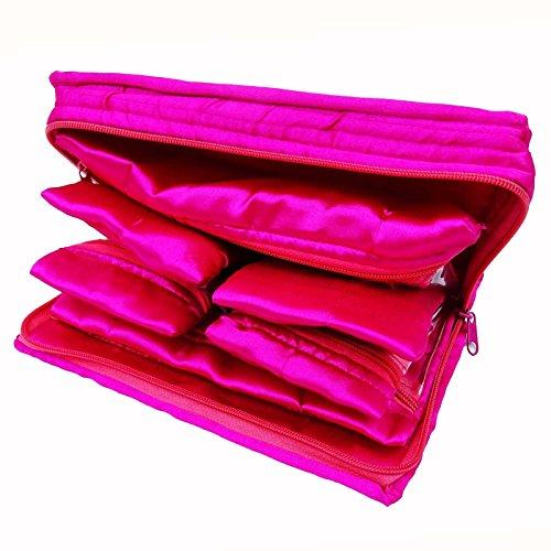 Entwerfer-bewegliche Verfassungs-Toilettenartikel-Kasten-Organisator-Speicher-Satin-Beutel 10 x 6 Rosa