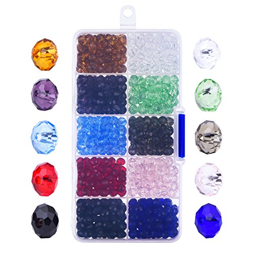 800 pezzi 6mm perle di vetro sfaccettata cristallo rondell perline con scatola ed il panno pulito