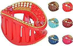 Iona Beauty Essentials Red Unbreakable Plastic Hair Clip for Girls (CCSET1G6B)