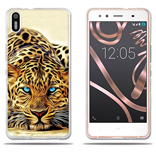 fubaoda Funda BQ Aquaris X5 Exótico Dibujo de un Leopardo de Ojos...