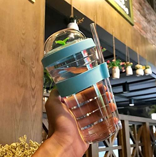 YXBB Kreative Stroh plastikwasserflasche Erwachsene Kinder transparent tragbare Outdoor saft Flasche Wasser aufnahmeflasche 480 ml 1