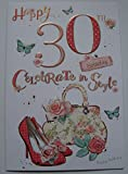 30. Geburtstag Karte Damen Schuhe Tasche Design mit Einsatz vers