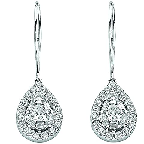 Jareeya–Or blanc 18ct 1,70CT Solitaire et baguette Diamant Pendants d'oreilles
