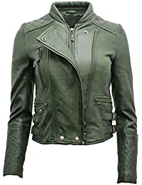 Ladies Real Green Quilted Lamb Nappa Leather Biker Jacket