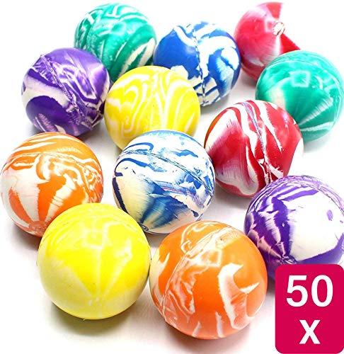 Praknu Große Flummis XL 42mm - Bunte Farben - 50 Stück - Mitgebsel Kindergeburtstag Mädchen oder Junge