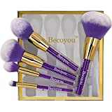 Becoyou Professional Makeup Brush Set, 5 Pieces Face Cosmetic Brushes Kit with Rhinestone Acrylic Smooth Handle for Powder Foundation Eyebrow Blush Concealer, Purple