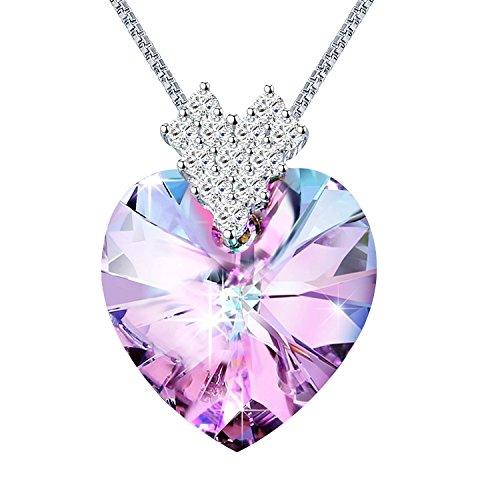 Sivery cuore a cuore collana cuore, collana donna, con cristalli di swarovski, gioielli donna, collane donna
