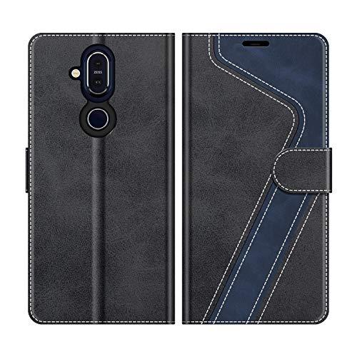 MOBESV Handyhülle für Nokia 8.1 Hülle Leder, Nokia 8.1 Klapphülle Handytasche Case für Nokia 8.1 Handy Hüllen, Modisch Schwarz