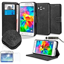 Savfy WalletCase - Funda para Samsung Galaxy Grand Prime SM-G530FZ (protector de pantalla, lápiz táctil), color negro
