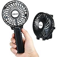 iEGrow Ventilador Plegable Ventilador de Mano Ventilador Silencioso Mini Ventilador Con Cable de Datos Usb y Batería Recargable(Negro)