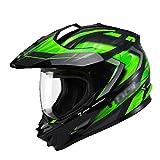 GTYW Caschi Da Cross Caschi Da Discesa Caschi Integrali Caschi Da Corsa Motocicli Caschi Motocicli Caschi Da Cross Country Biciclette Certificazione DOT M-3XL,BlackGreen1-L(57-58cm)