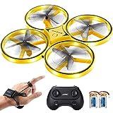 SGILE RC Drone con LED, con Controllo del Gesto/Rotazione a 360 Gradi/Lancia per Volare, con Luce Meraviglioso, Drone per Bambini e Adulti (Giallo)