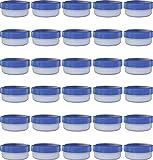 30 Salbendöschen, Creme-döschen, Salbenkruke flach, 12ml Inhalt mit blauem Deckel - MADE IN GERMANY