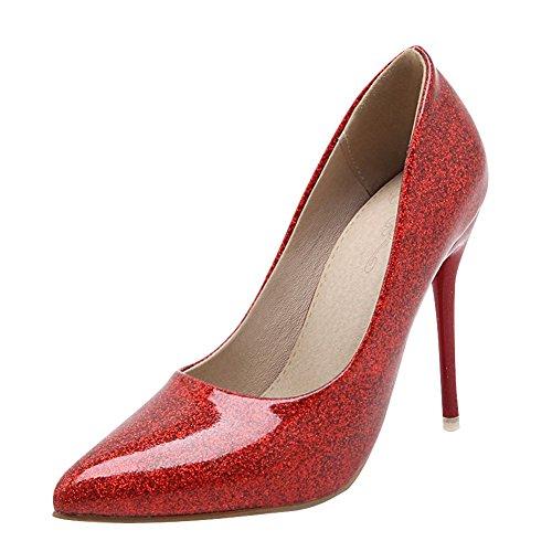 MissSaSa Donna Sottile col Tacco Alto Semplice e Elegante Rosso