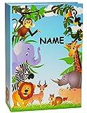 alles-meine.de GmbH Einsteckalbum -  Zootiere & Giraffe  incl. Namen - Gebunden zum Einstecken - groß für bis zu 200 Bilder - 10x15 - Fotoalbum / Fotobuch / Photoalbum / Babyal..