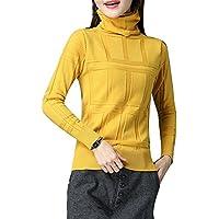ALUK- Suéter grueso y grueso en la sección larga de la camisa de punto de manga larga Slim de cuello alto ( Color : Amarillo , Tamaño : XL )