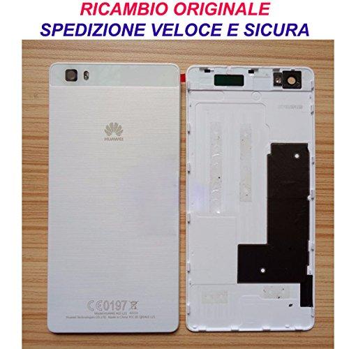 Preisvergleich Produktbild Schale Akkudeckel Back Cover Akkudeckel Rückseite Original Huawei P8 Lite weiß weiß mit Aufkleber Doppelseitiges ale-l21