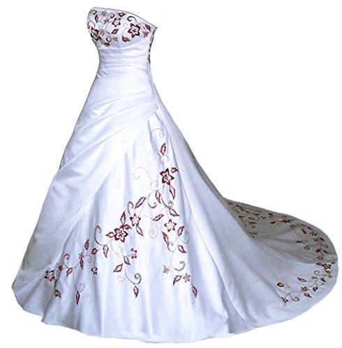 Vantexi Trägerlos Rot Stickerei Satin Hochzeitskleid Brautkleid Weiß Größe 46