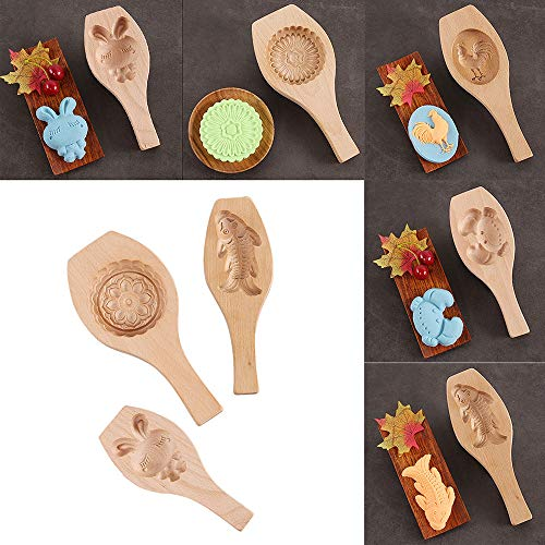 Altsommer 3D Viele Verschieden Muster Creative Hölzerne Kuchenform für Gebackene Minikuchen,Muffins,Kuchenform mit Stereo-EIN-Modu,DIY Kuchenform für Weichnachten 24,8x11,5x2,3 cm (D)