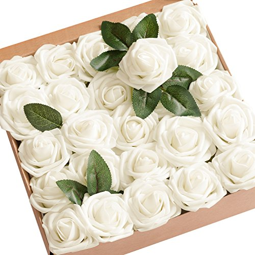 Ling's moment Artificial Flowers 25pcs Real Looking Ivory Fake Roses w/Stem For DIY Wedding Bouquets Centerpieces Bridal Shower Party Home Decorations Diy Bridal Shower