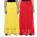 NumBrave Yellow & Red Long Flared Skirt ...