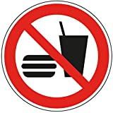 LEMAX® Verbotsschild Essen und Trinken verboten, ASR/ISO, Folie, selbstklebend, Ø 100mm