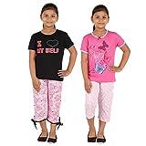 #10: FICTIF Kid Girl's Top & Capri Set (2FG303-ILLP Black and Pink And Dark Pin Top Light Pink Capri Set) Pack Of -2